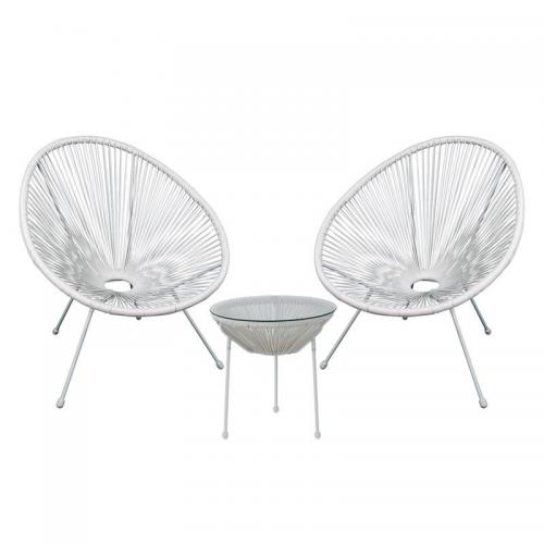 ACAPULCO Set Κήπου - Βεράντας: Τραπέζι + 2 Πολυθρόνες Μέταλλο Άσπρο/Rattan Άσπρο