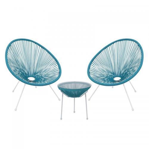 ACAPULCO Set Κήπου - Βεράντας: Τραπέζι + 2 Πολυθρόνες Μέταλλο Άσπρο / Rattan Μπλε