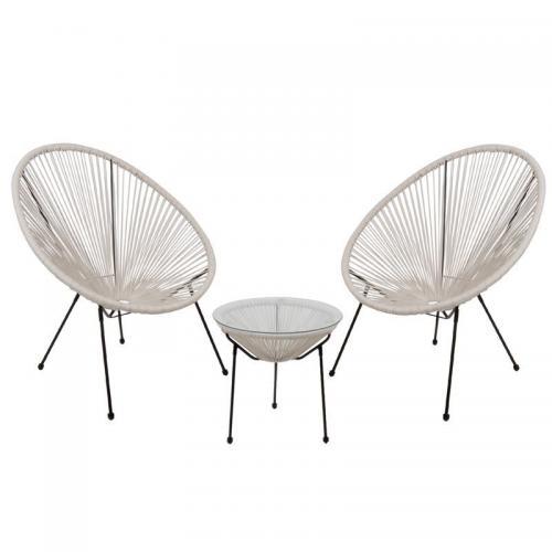 ACAPULCO Set Κήπου - Βεράντας: Τραπέζι + 2 Πολυθρόνες Μέταλλο Μαύρο / Rattan Άσπρο