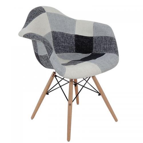 ALEA Wood Πολυθρόνα Ξύλο - PP Ύφασμα Patchwork Black & White