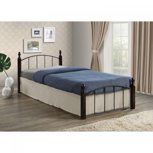 ARAGON Kρεβάτι Ημίδιπλο, για Στρώμα 120x200cm, Μέταλλο Βαφή Μαύρο - Ξύλο Kαρυδί