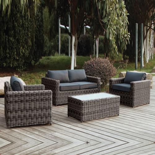 ARIZONA Set Σαλόνι Κήπου : 2Θέσιος +2 Πολυθρόνες +Τραπέζι Wicker Grey Brown- Μαξ.Ανθρακί