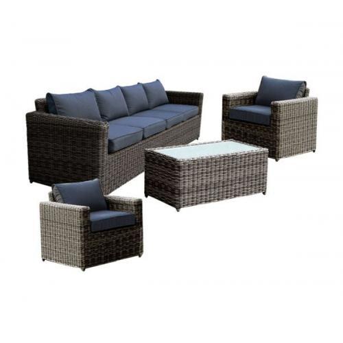 ARIZONA Set Σαλόνι Κήπου : 4Θέσιος +2 Πολυθρόνες +Τραπέζι Wicker Grey Brown- Μαξ.Ανθρακί