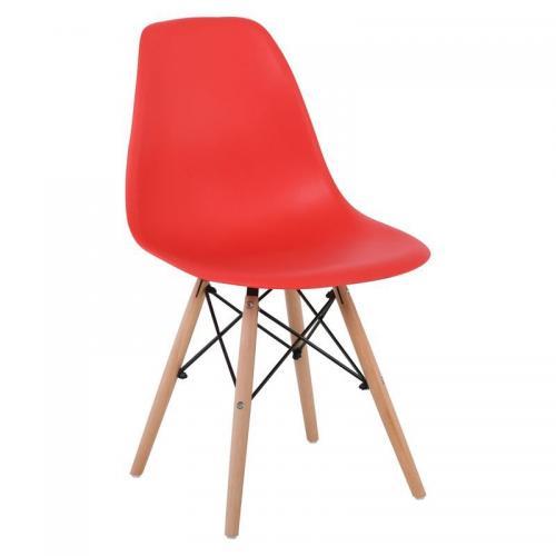 ART Wood Καρέκλα Τραπεζαρίας Κουζίνας Ξύλο - PP Κόκκινο