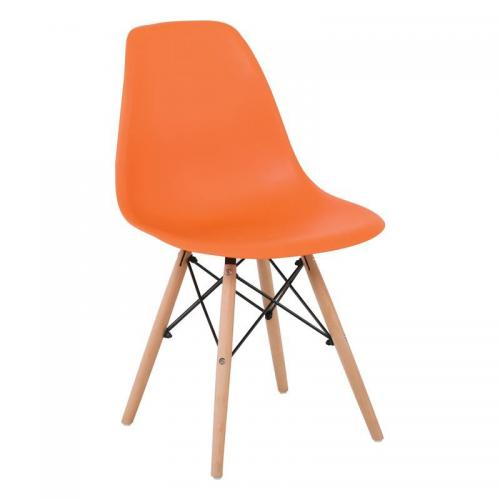 ART Wood Kαρέκλα Τραπεζαρίας Σαλονιού Ξύλο - PP Πορτοκαλί