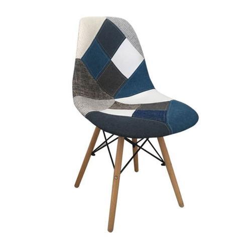 ART Wood Καρέκλα Ξύλο - PP Ύφασμα Patchwork Blue