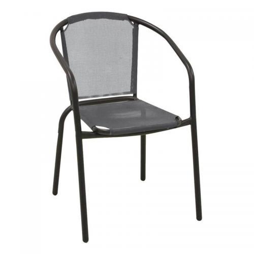 BALENO Πολυθρόνα Μέταλλο Βαφή Μαύρο - Textilene Γκρι