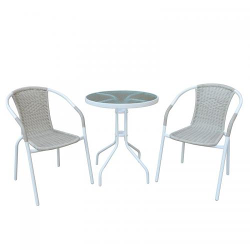 BALENO Set Κήπου - Βεράντας : Τραπέζι + 2 Πολυθρόνες Μέταλλο Άσπρο - Wicker Beige