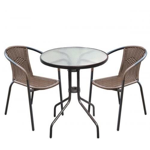 BALENO Set Κήπου - Βεράντας : Τραπέζι + 2 Πολυθρόνες Μέταλλο Καφέ - Wicker Brown