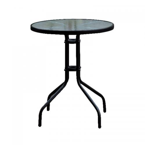 BALENO Τραπέζι Μέταλλο Βαφή Μαύρο - Γυαλί Tempered