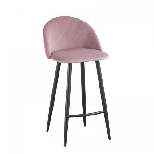 BELLA Σκαμπό BAR με Πλάτη, Μέταλλο Βαφή Μαύρο, Ύφασμα Velure Απόχρωση Dirty Pink