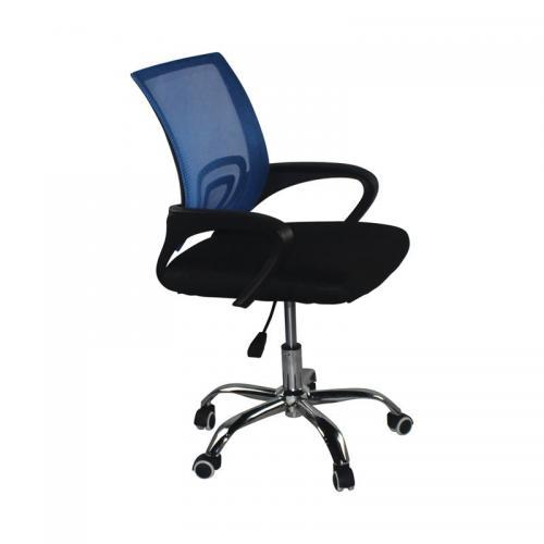 BF2101-F Πολυθρόνα Γραφείου χωρίς Ανάκλιση - Χρώμιο Mesh Μπλε - Μαύρο