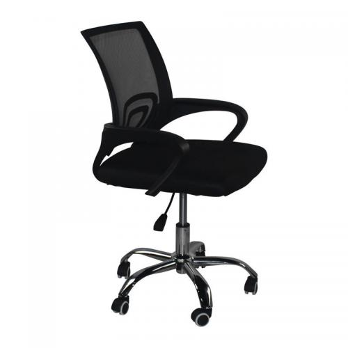 BF2101-F Πολυθρόνα Γραφείου χωρίς Ανάκλιση - Χρώμιο Mesh Μαύρο