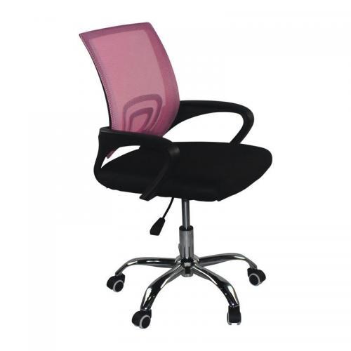 BF2101-F Πολυθρόνα Γραφείου χωρίς Ανάκλιση - Χρώμιο Mesh Ροζ - Μαύρο ( Συσκ. 2 )