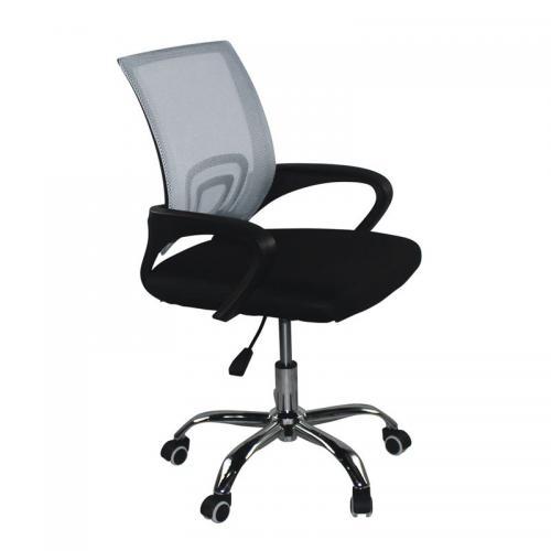 BF2101-F Πολυθρόνα Γραφείου χωρίς Ανάκλιση, Μέταλλο Χρώμιο Mesh Γκρι - Μαύρο