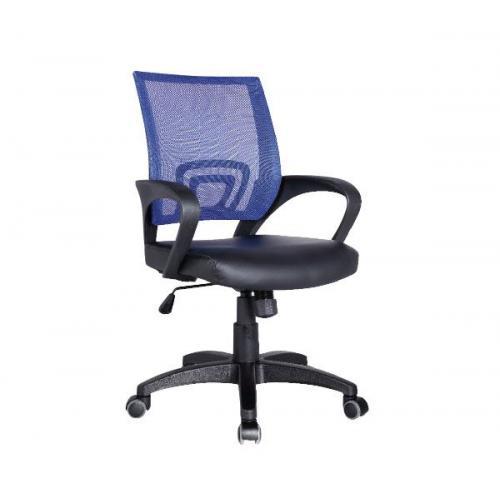 BF2101 Πολυθρόνα Γραφείου με Ανάκλιση Μπλε Mesh - Μαύρο PU