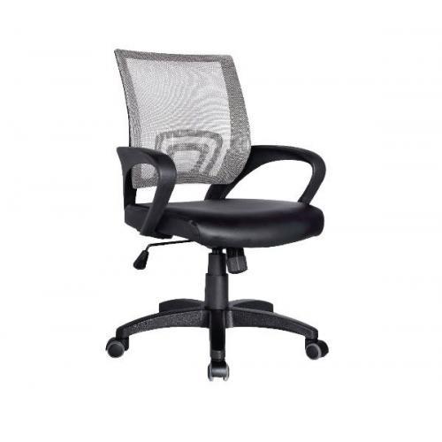 BF2101 Πολυθρόνα Γραφείου με Ανάκλιση Γκρι Mesh - Μαύρο PU