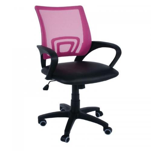 BF2101 Πολυθρόνα Γραφείου με Ανάκλιση Ροζ Mesh - Μαύρο PU