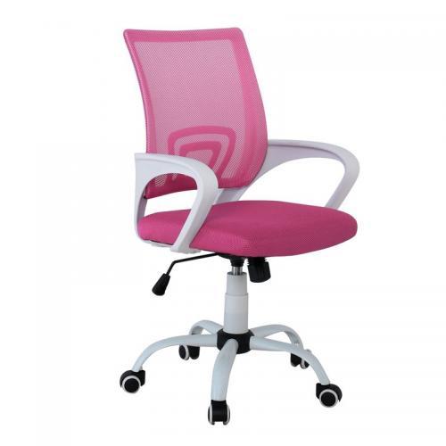 BF2101-S Πολυθρόνα Γραφείου με Ανάκλιση Άσπρο - Ροζ Mesh