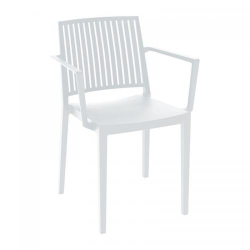 CARMEN Πολυθρόνα Στοιβαζόμενη PP-UV Άσπρο