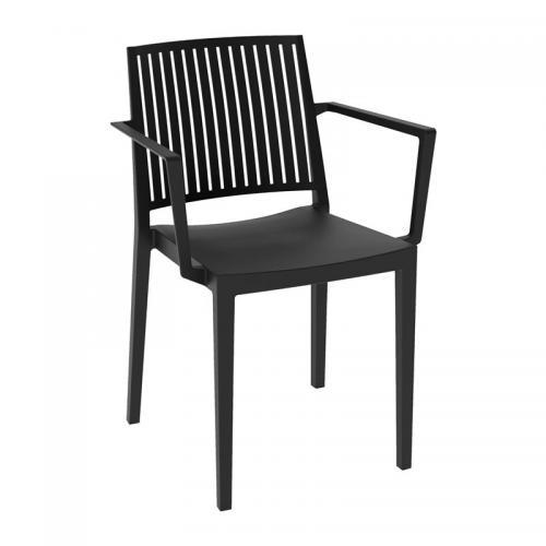 CARMEN Πολυθρόνα Στοιβαζόμενη PP-UV Μαύρο