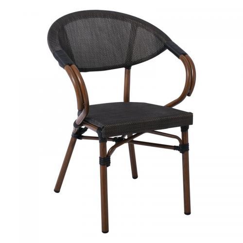 COSTA Πολυθρόνα Dining Αλουμινίου Απόχρωση Καρυδί Textilene Μαύρο
