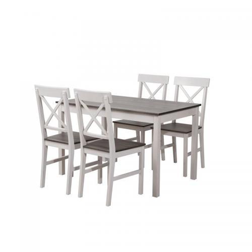 DAILY Set Τραπεζαρία Ξύλινη Σαλονιού - Κουζίνας: Τραπέζι + 4 Καρέκλες / Άσπρο - Dark Oak