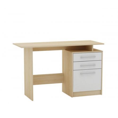 DECON Γραφείο με 3 Συρτάρια Απόχρωση Σημύδας - Άσπρο