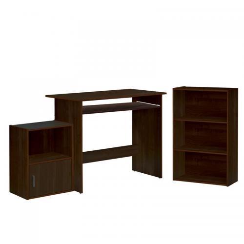 DECON Set Γραφείο Καρυδί : Γραφείο 90x50x75cm Βιβλιοθήκη 50x23x80cm Ντουλάπι 41x29x54cm