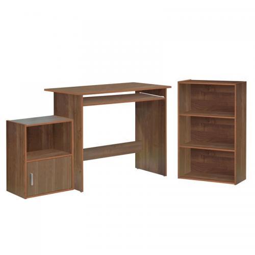DECON Set Γραφείο Κερασί : Γραφείο 90x50x75cm Βιβλιοθήκη 50x23x80cm Ντουλάπι 41x29x54cm