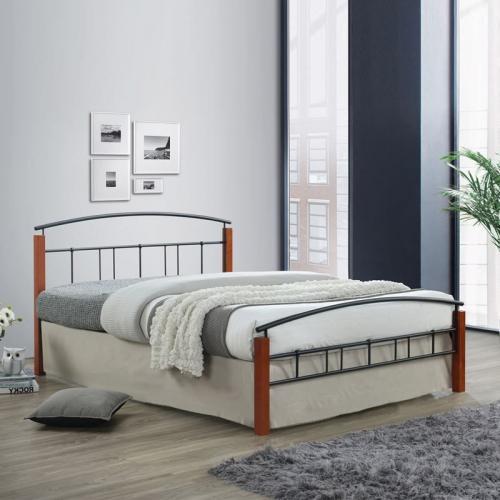 DOKA Κρεβάτι Διπλό Μέταλλο Βαφή Μαύρο / Ξύλο Καρυδί