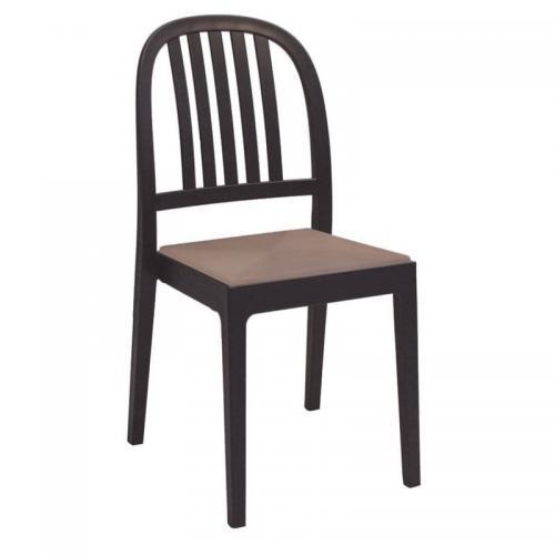 ERA Καρέκλα Στοιβαζόμενη Πλαστική Καφέ