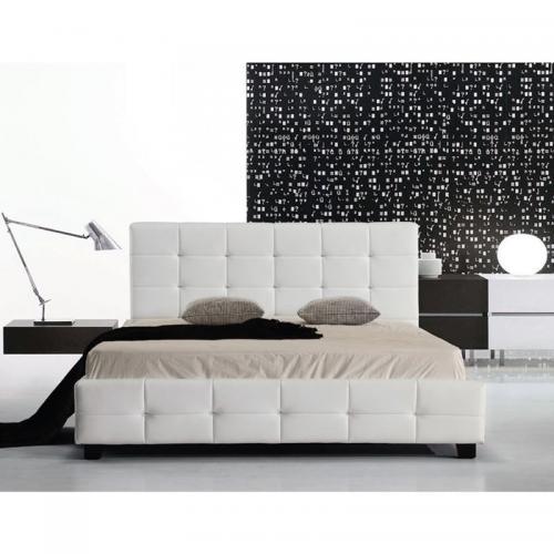 FIDEL Κρεβάτι Διπλό Ξύλο - PU Άσπρο