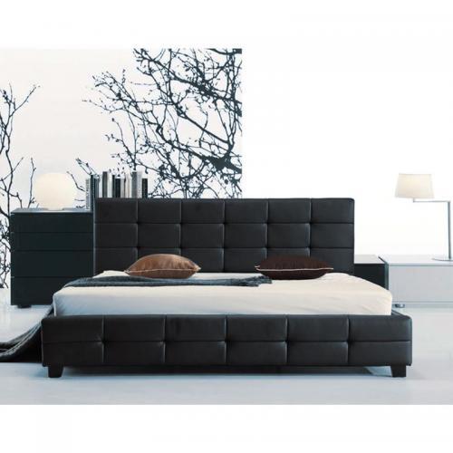 FIDEL Κρεβάτι Διπλό, για Στρώμα 150x200cm, PU Μαύρο