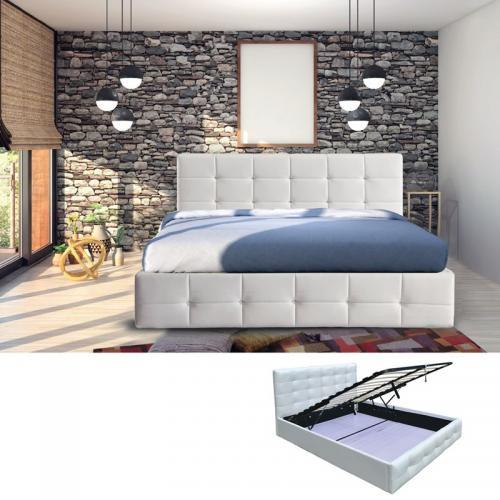FIDEL Κρεβάτι Διπλό Αποθηκευτικός Χώρος Ξύλο / PU Άσπρο