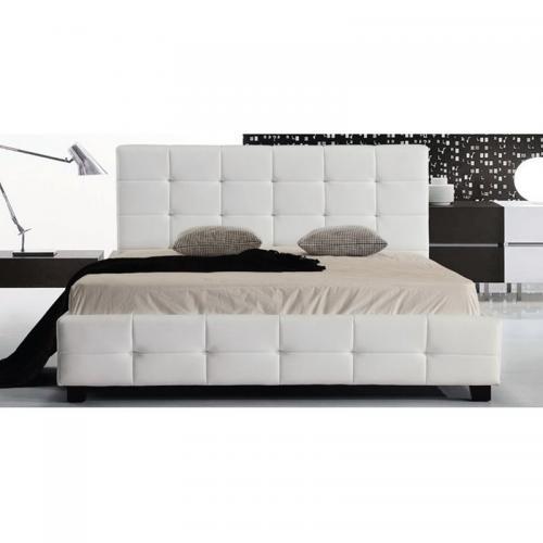FIDEL Κρεβάτι Διπλό Ξύλο / PU Άσπρο