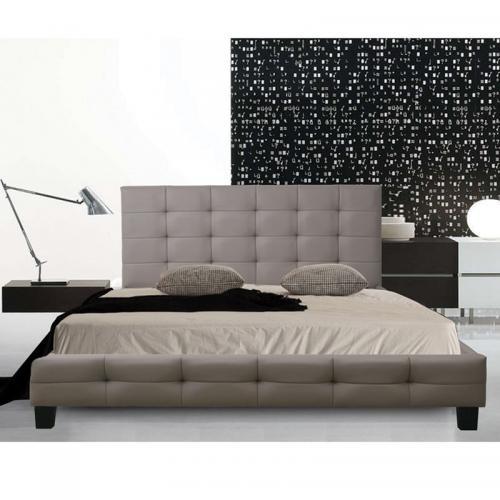 FIDEL Κρεβάτι Διπλό Ξύλο / PU Cappuccino
