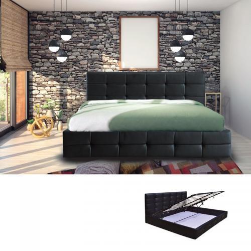 FIDEL Κρεβάτι Διπλό Αποθηκευτικός Χώρος Ξύλο / PU Μαύρο