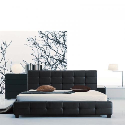 FIDEL Κρεβάτι Διπλό Ξύλο / PU Μαύρο