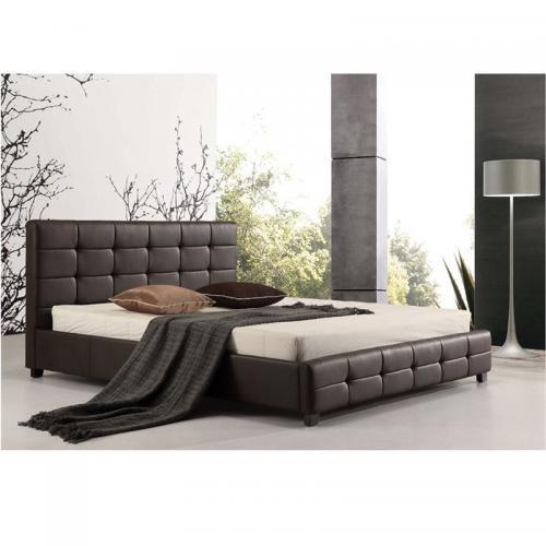 FIDEL Κρεβάτι Διπλό Ξύλο - PU Σκούρο Καφέ