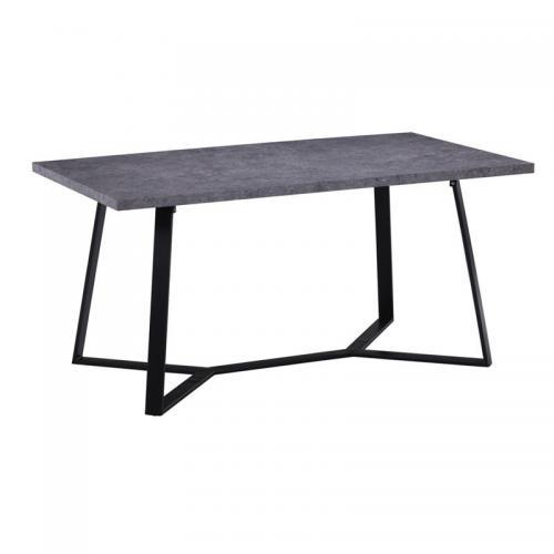 HANSON Τραπέζι Κουζίνας Τραπεζαρίας Μέταλλο Βαφή Μαύρο - Cement
