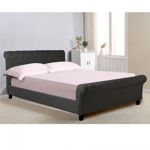 HARMONY Κρεβάτι Διπλό Ξύλο - Ύφασμα Ανθρακί