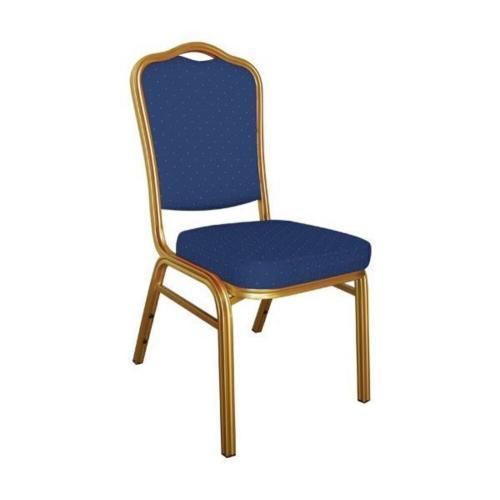 HILTON Καρέκλα Μέταλλο Gold Ύφασμα  - Ύφασμα Μπλε