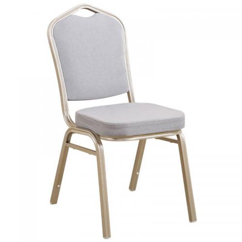 HILTON Καρέκλα Μεταλλική Light Gold/Ύφ.Γκρι