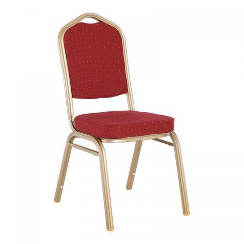 HILTON Καρέκλα Μεταλλική Light Gold/Ύφ.Κόκκιν