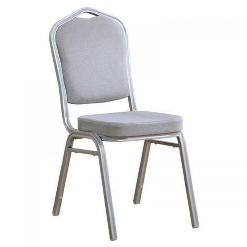 HILTON Καρέκλα Μεταλλική Silver/Ύφασμα Γκρι