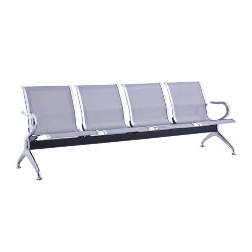Κάθισμα Αναμονής - Υποδοχής 4-θέσεων Χρώμιο / Mesh Γκρι