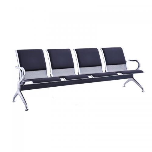 Κάθισμα Αναμονής - Υποδοχής 4-θέσεων Χρώμιο / Pvc Μαύρο