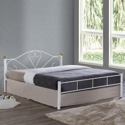 LAZAR Κρεβάτι Διπλό Μέταλλο Βαφή Άσπρο