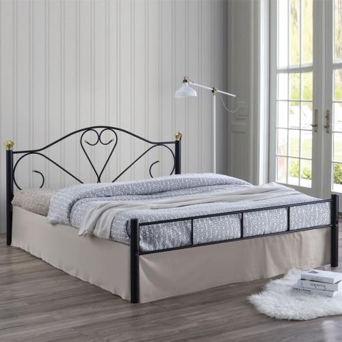 LAZAR Κρεβάτι Διπλό Μέταλλο Βαφή Μαύρο